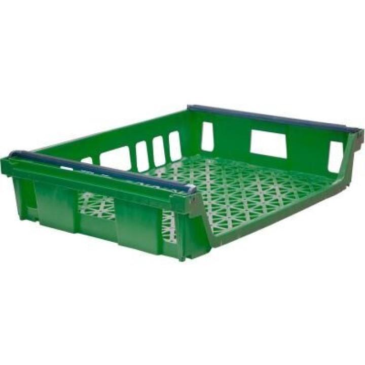 Ящик п/э 744х557х167 со складываемыми ручками цв. зелёный