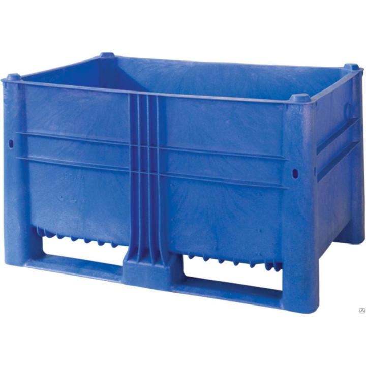 Контейнер пластиковый 1200х800х740 синий, сплошной